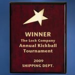 Piano Finish Wood Plaque with Brass Star Sales Awards